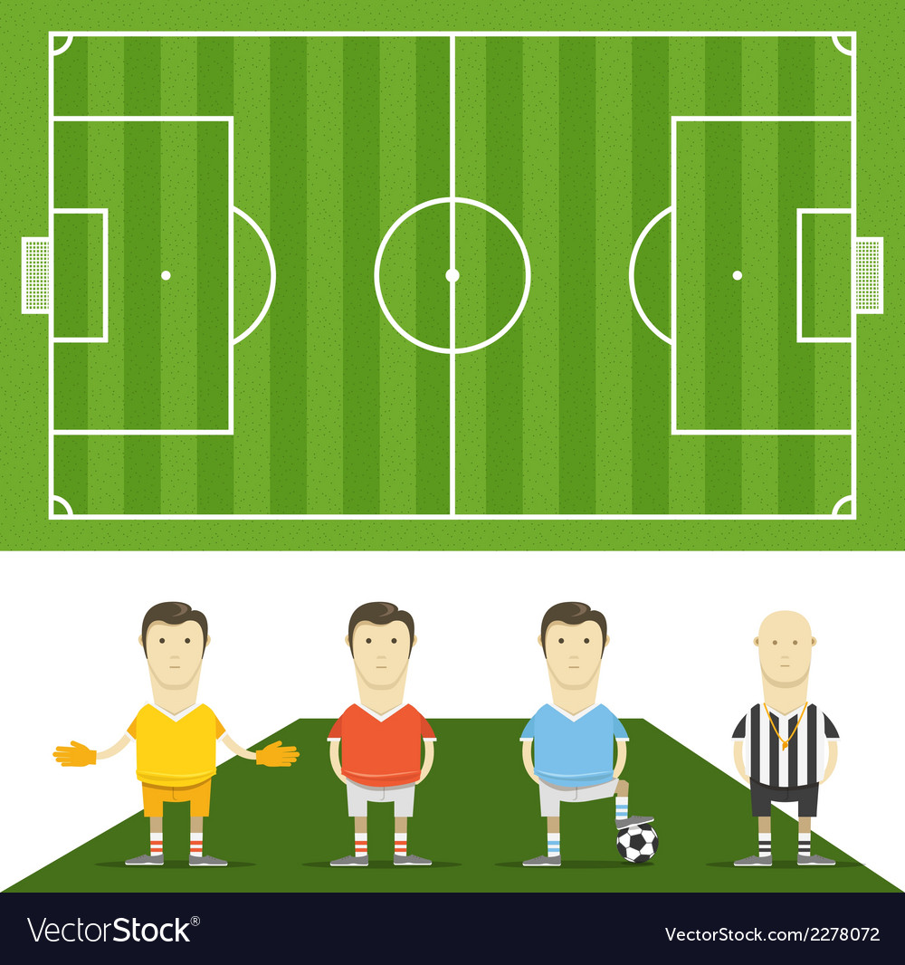 Green football field with football players vector | Price: 1 Credit (USD $1)