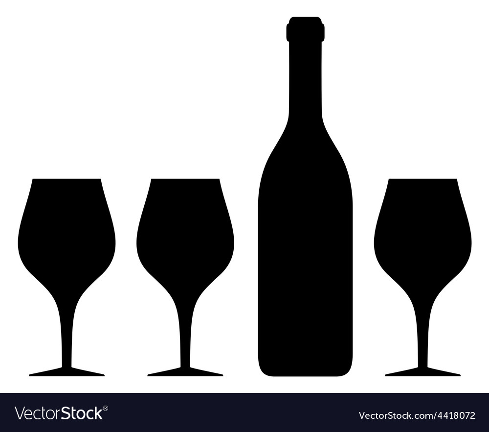 Isolated glass and bottle silhouette vector