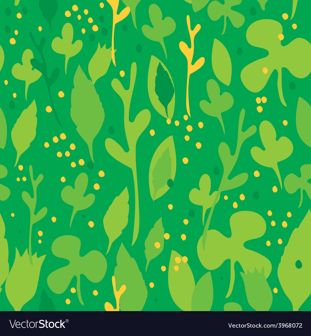 Set of funny leaves seamless pattern on a green vector | Price: 1 Credit (USD $1)