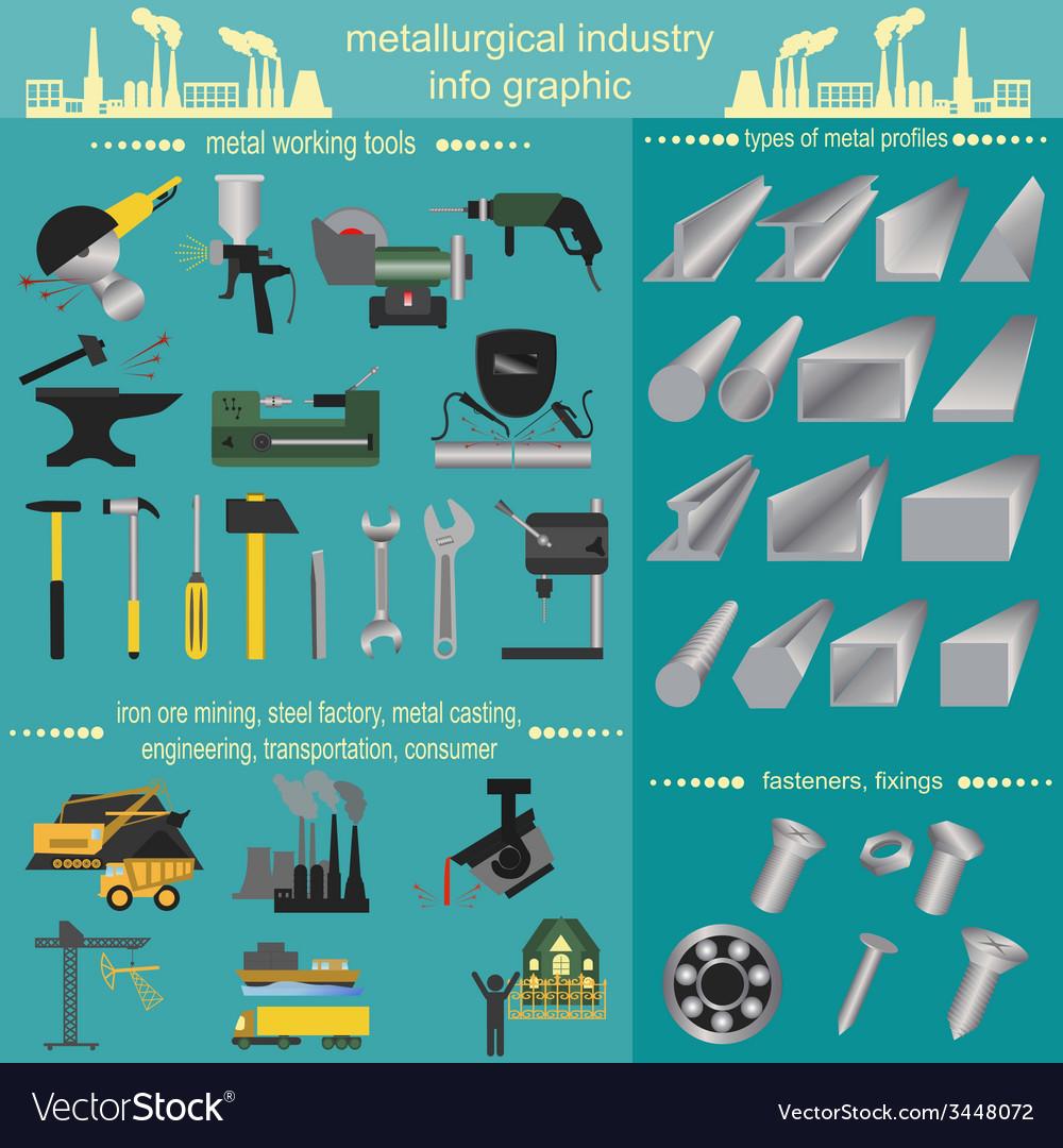 Set of metallurgy icons metal working tools steel vector | Price: 1 Credit (USD $1)