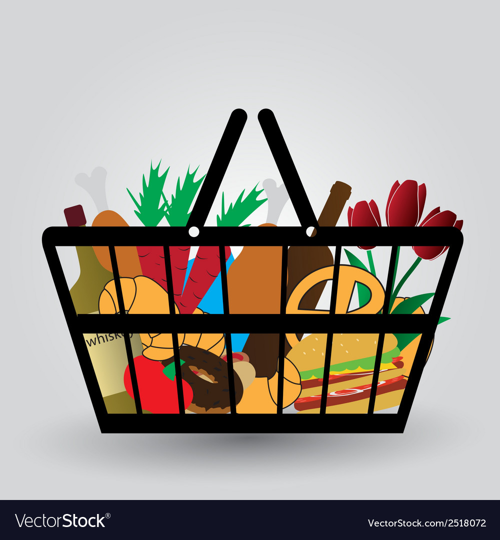 Shopping cart with foodstuffs icons eps10 vector   Price: 1 Credit (USD $1)