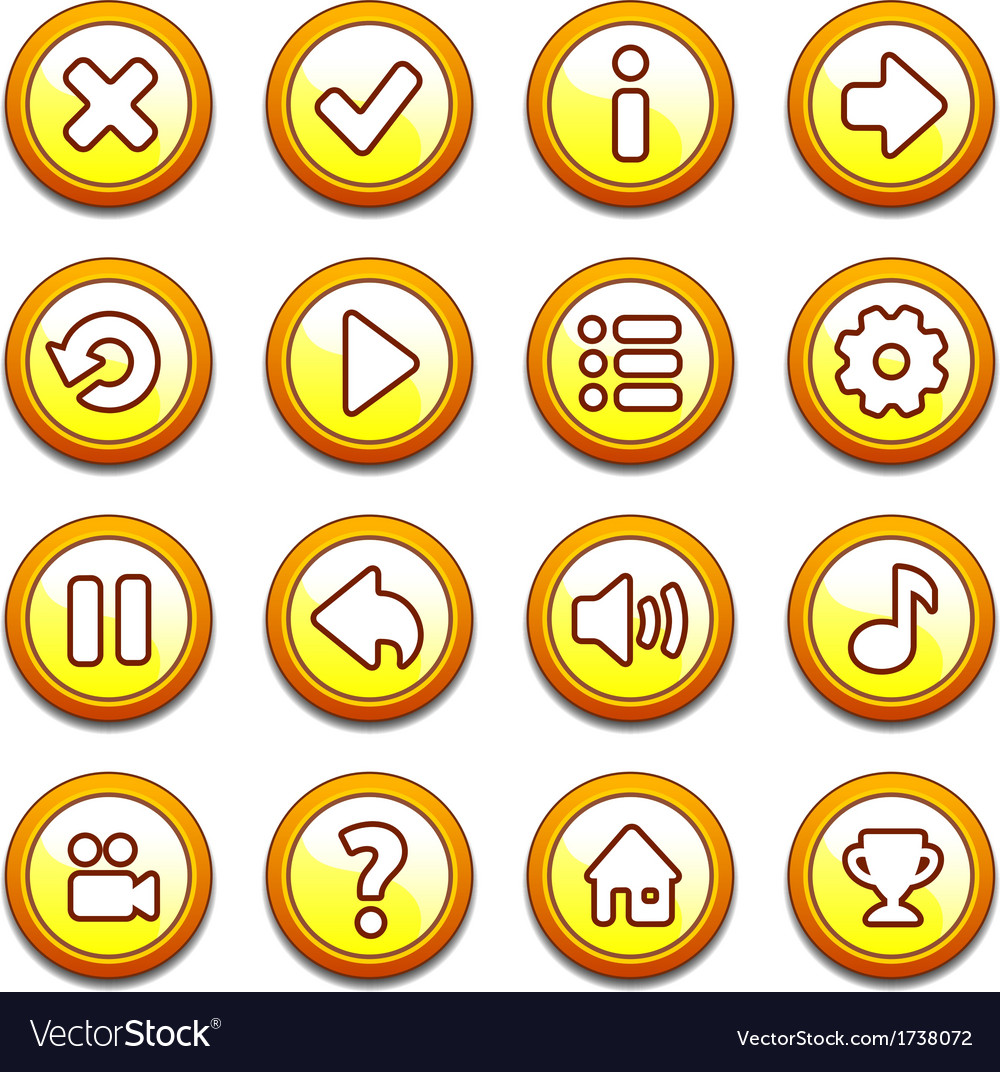Yellow and orange round buttons vector
