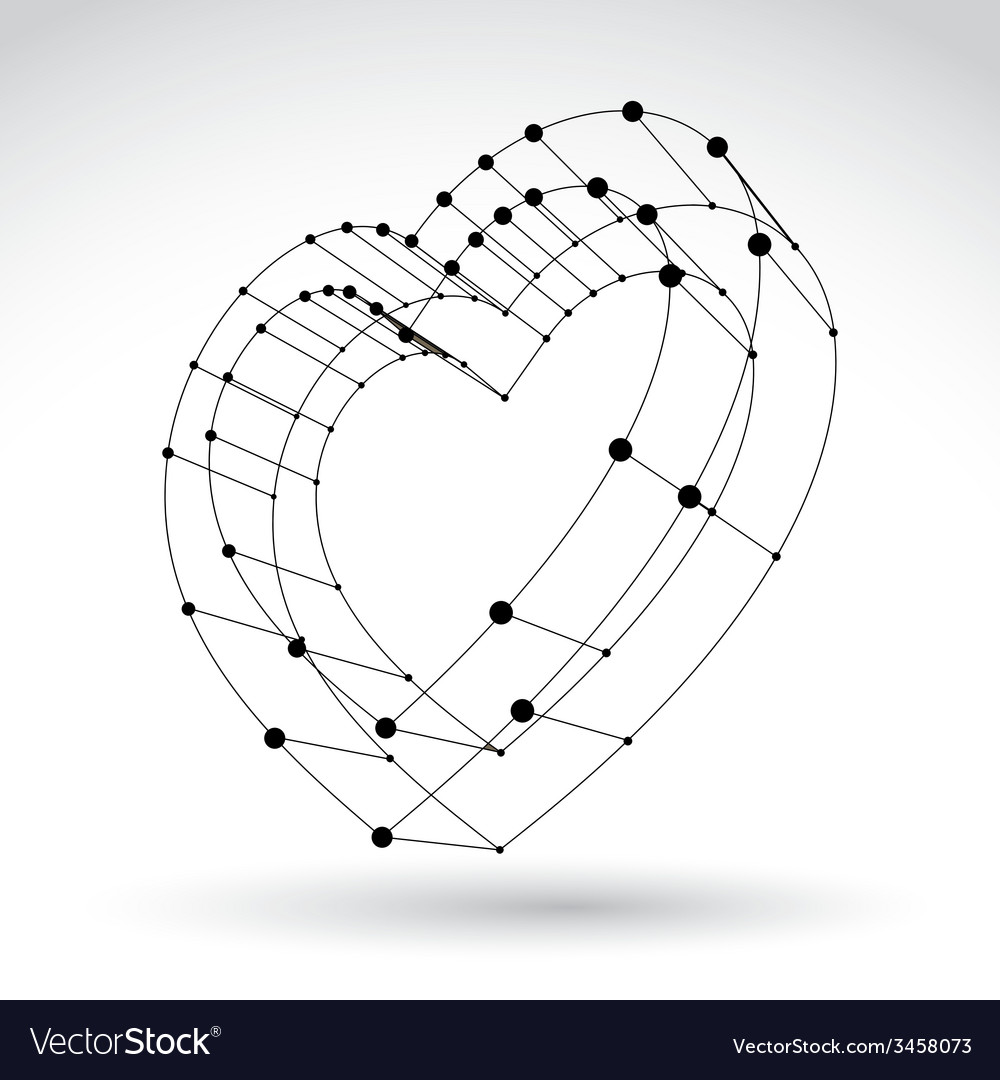 3d mesh stylish web monochrome love heart sign vector | Price: 1 Credit (USD $1)