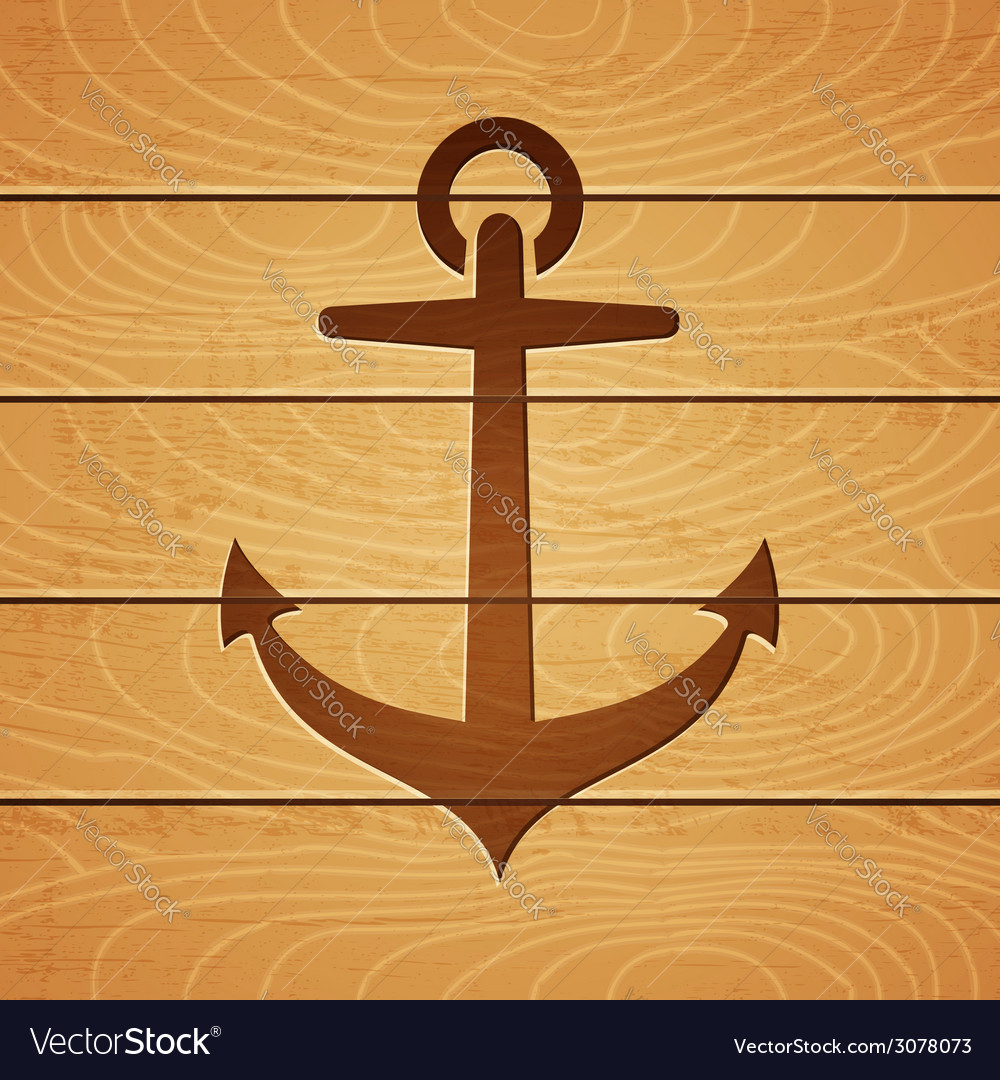 Anchor on wooden background vector   Price: 1 Credit (USD $1)