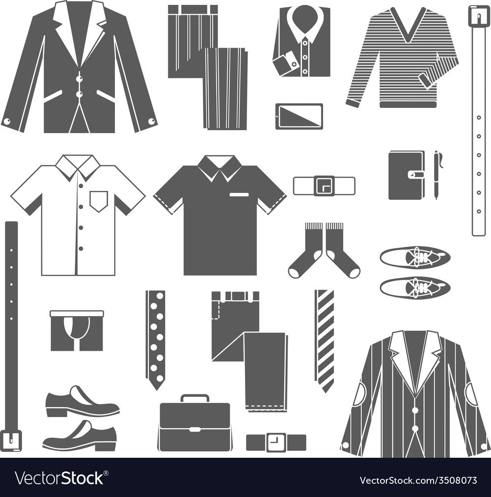 Business man clothes icons set vector | Price: 1 Credit (USD $1)