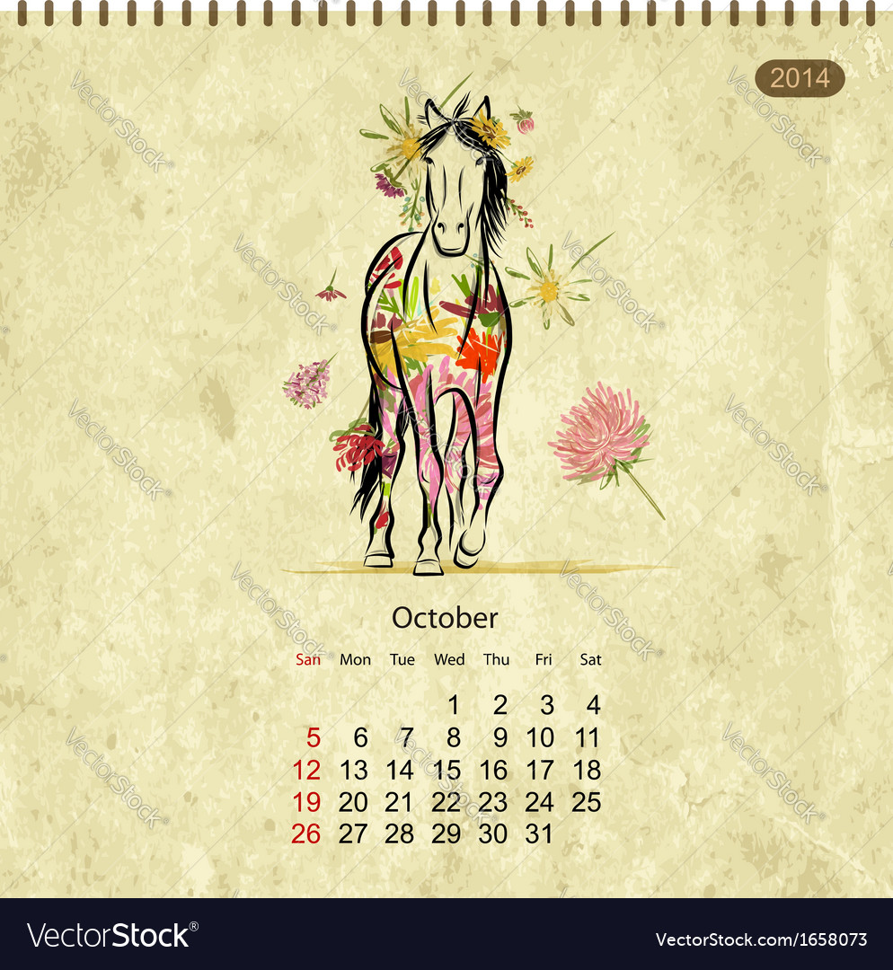 Calendar 2014 october art horses for your design vector | Price: 1 Credit (USD $1)