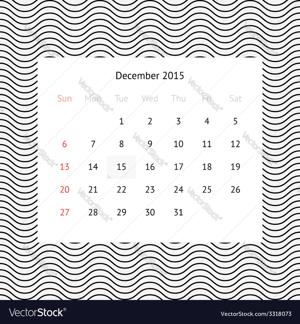 Calendar page for december 2015 vector   Price: 1 Credit (USD $1)