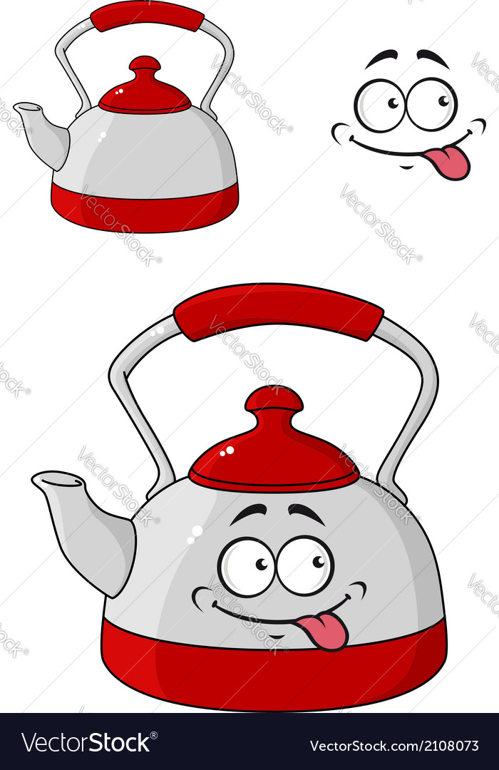 Cartoon kettle with a happy smile vector | Price: 1 Credit (USD $1)