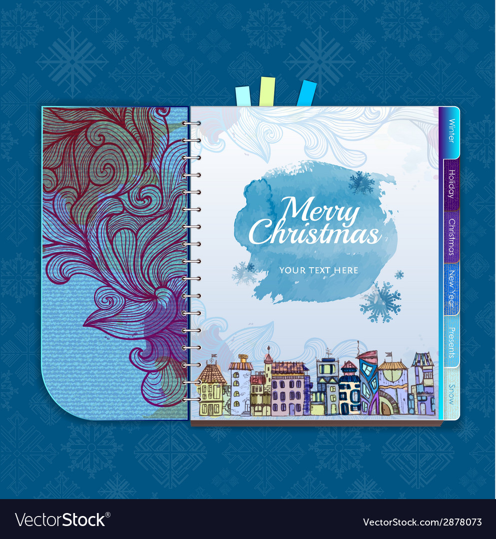 Christmas background notebook decorative city vector | Price: 1 Credit (USD $1)