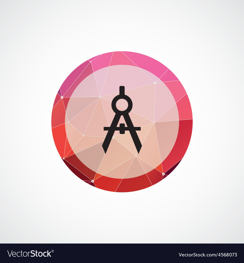 Compasses circle pink triangle background icon vector | Price: 1 Credit (USD $1)