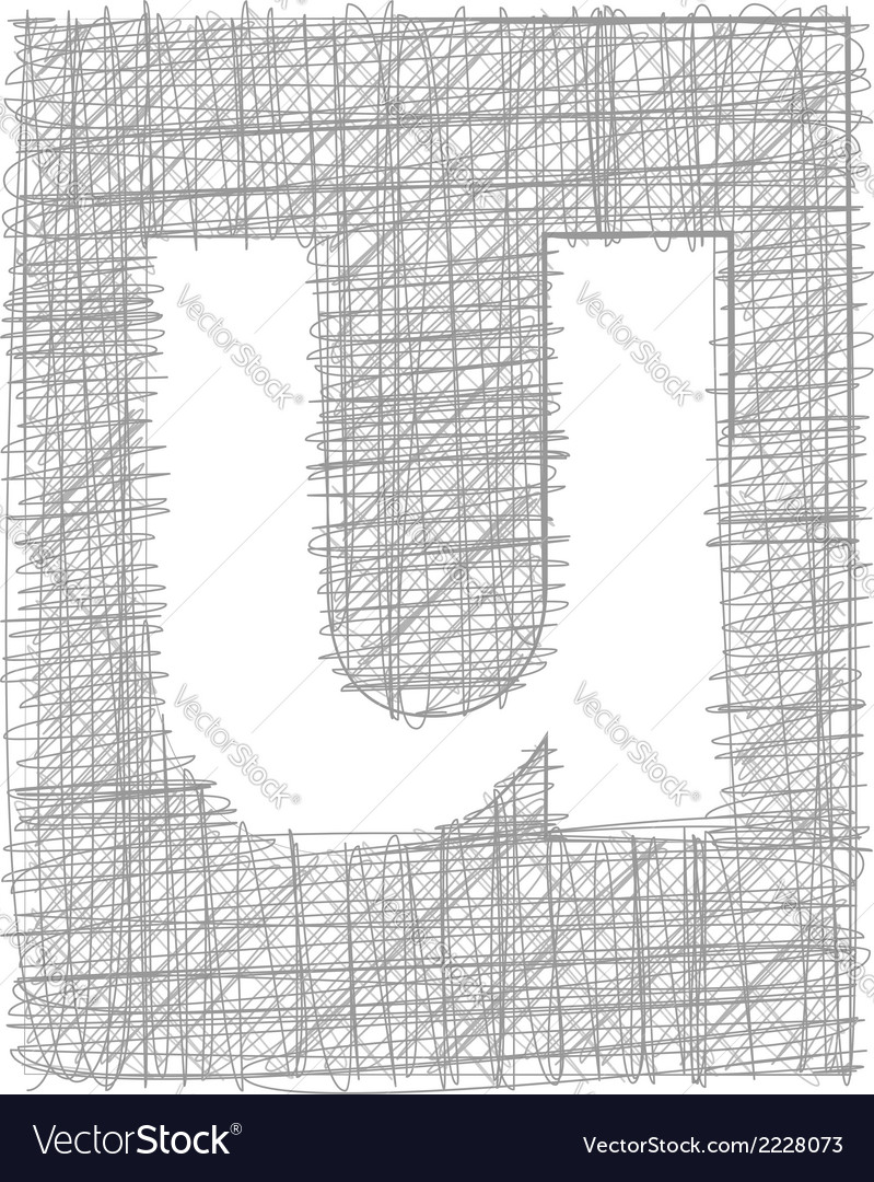 Freehand typography letter u vector | Price: 1 Credit (USD $1)
