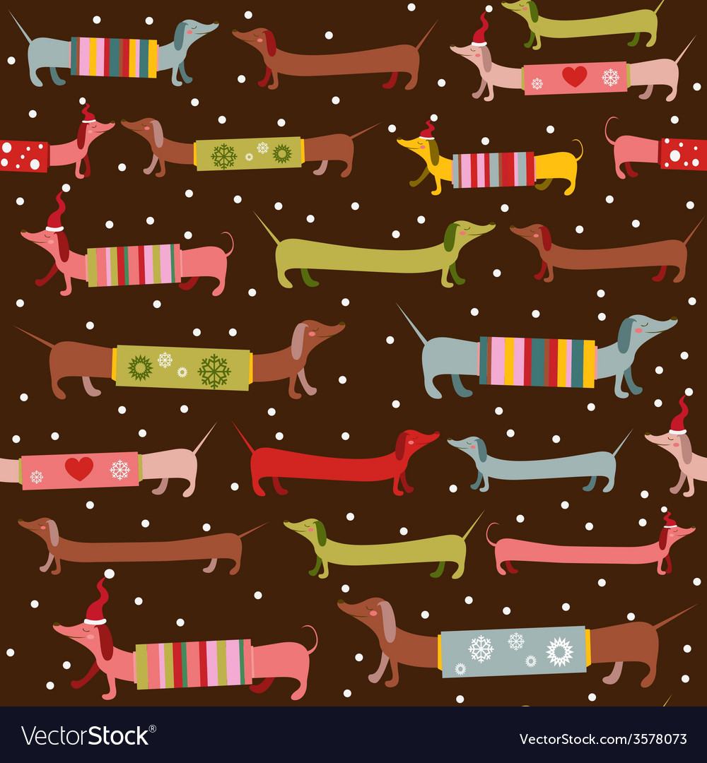 Fun dogsnow holiday pattern vector | Price: 1 Credit (USD $1)