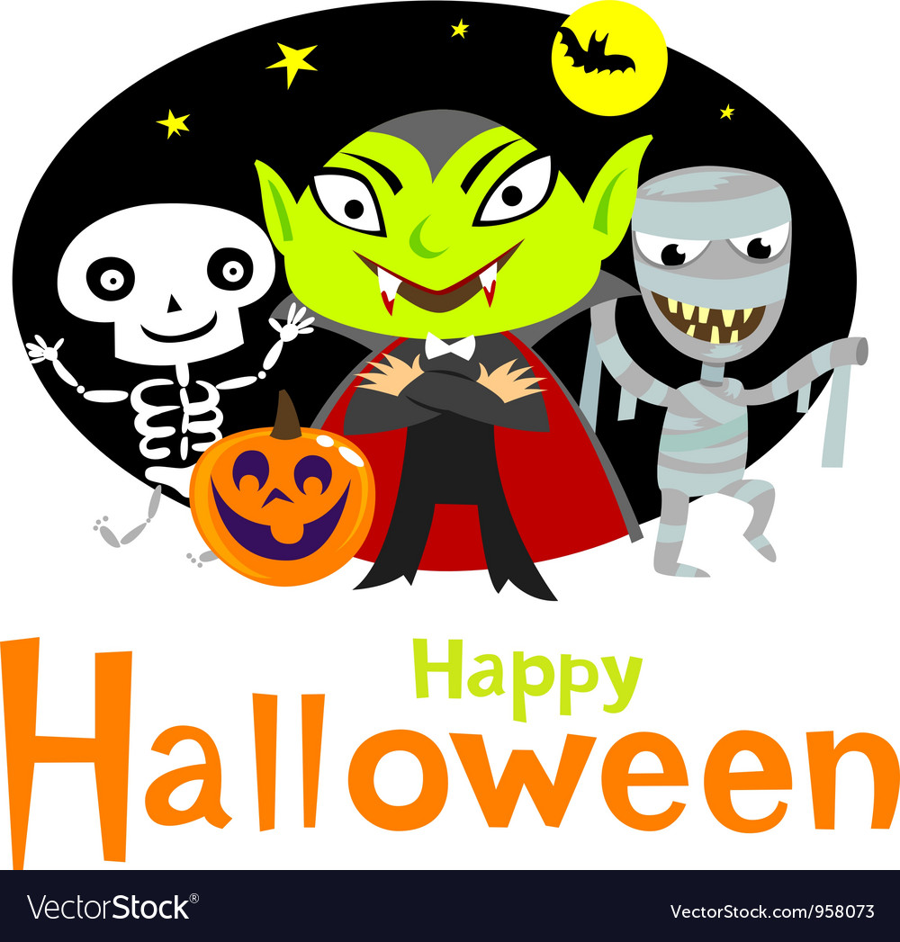 Halloween greeting card vector | Price: 3 Credit (USD $3)