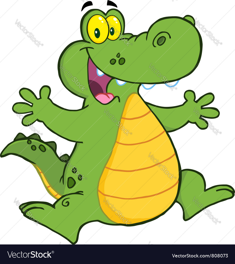Happy alligator jumping vector