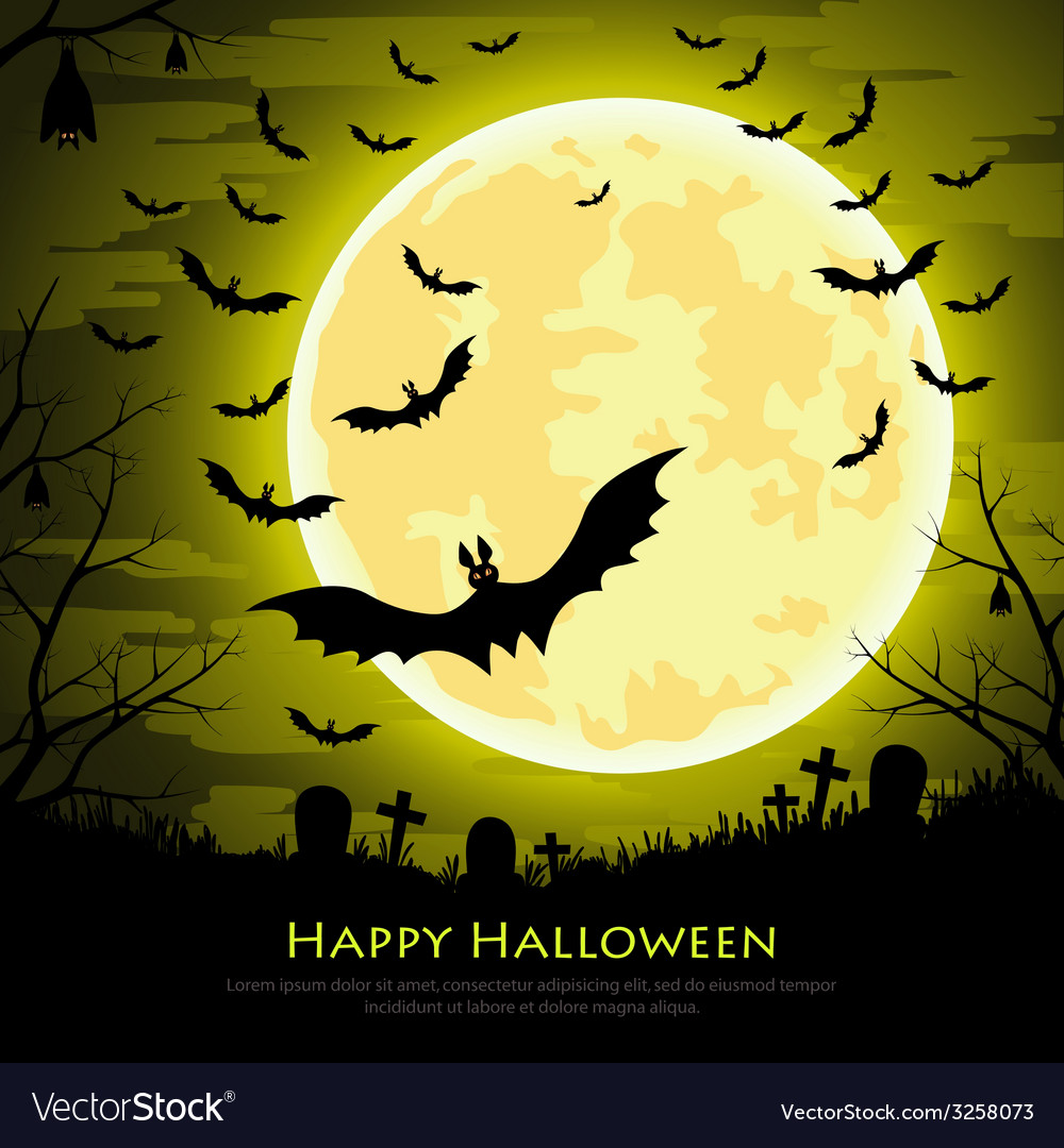 Happy halloween background with moon and bats vector | Price: 1 Credit (USD $1)