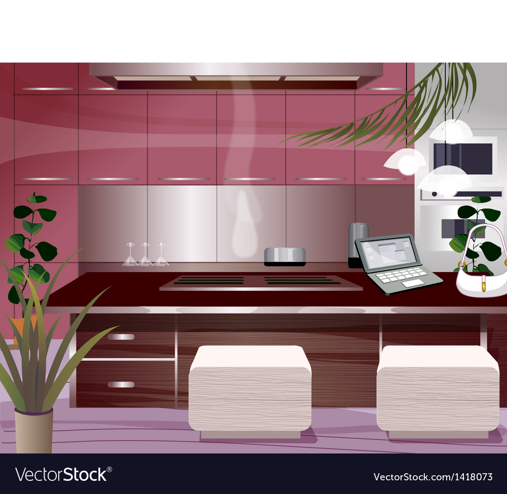 Laptop open kitchen counter vector | Price: 1 Credit (USD $1)