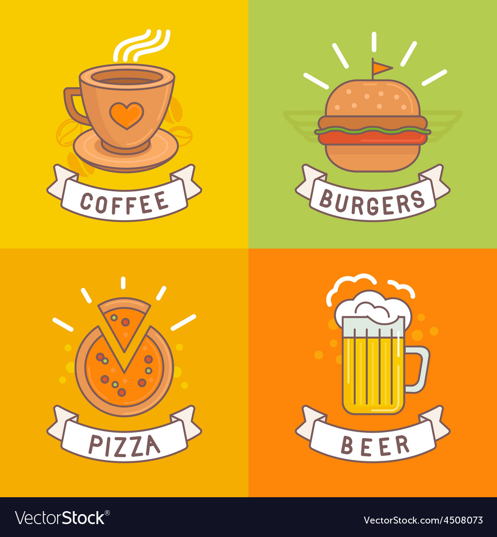 Linear food labels vector