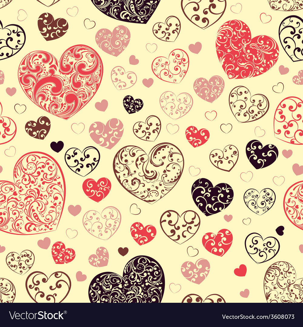 Seamless pattern of hearts vector   Price: 1 Credit (USD $1)
