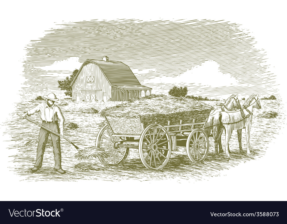 Woodcut hay farmer vector | Price: 1 Credit (USD $1)