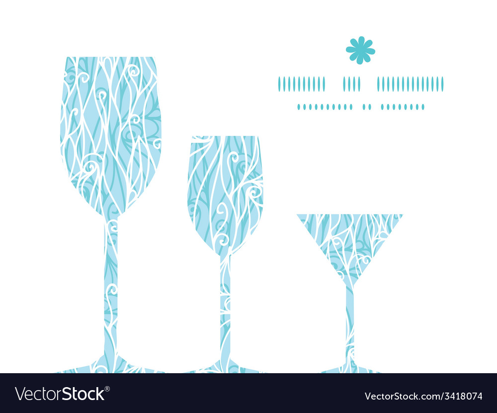Abstract frost swirls texture three wine glasses vector   Price: 1 Credit (USD $1)