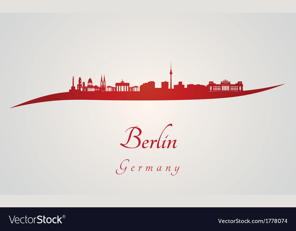 Berlin skyline in red vector | Price: 1 Credit (USD $1)