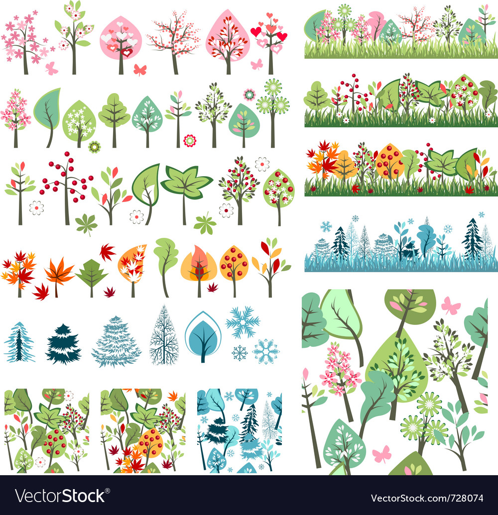 Big set with different stylized trees vector | Price: 1 Credit (USD $1)