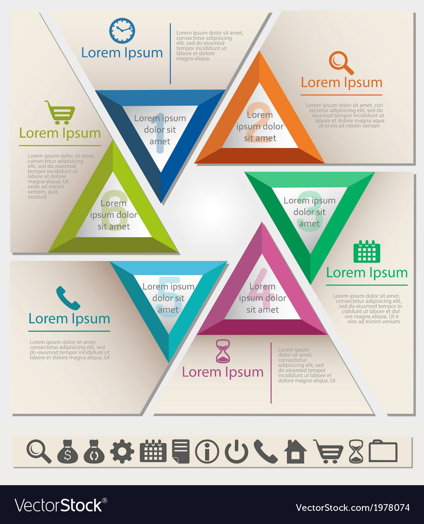 Business infographic chart template six triangle vector | Price: 1 Credit (USD $1)