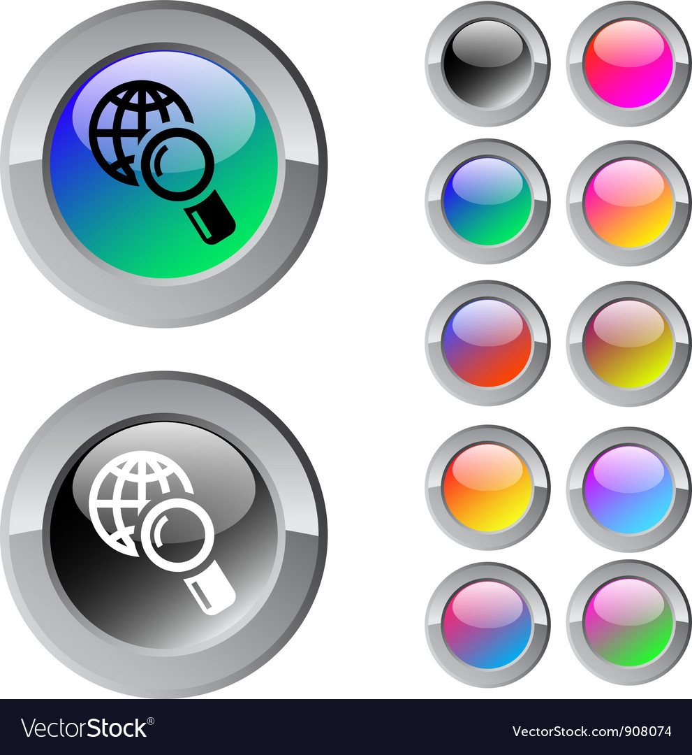 Global search multicolor round button vector | Price: 1 Credit (USD $1)