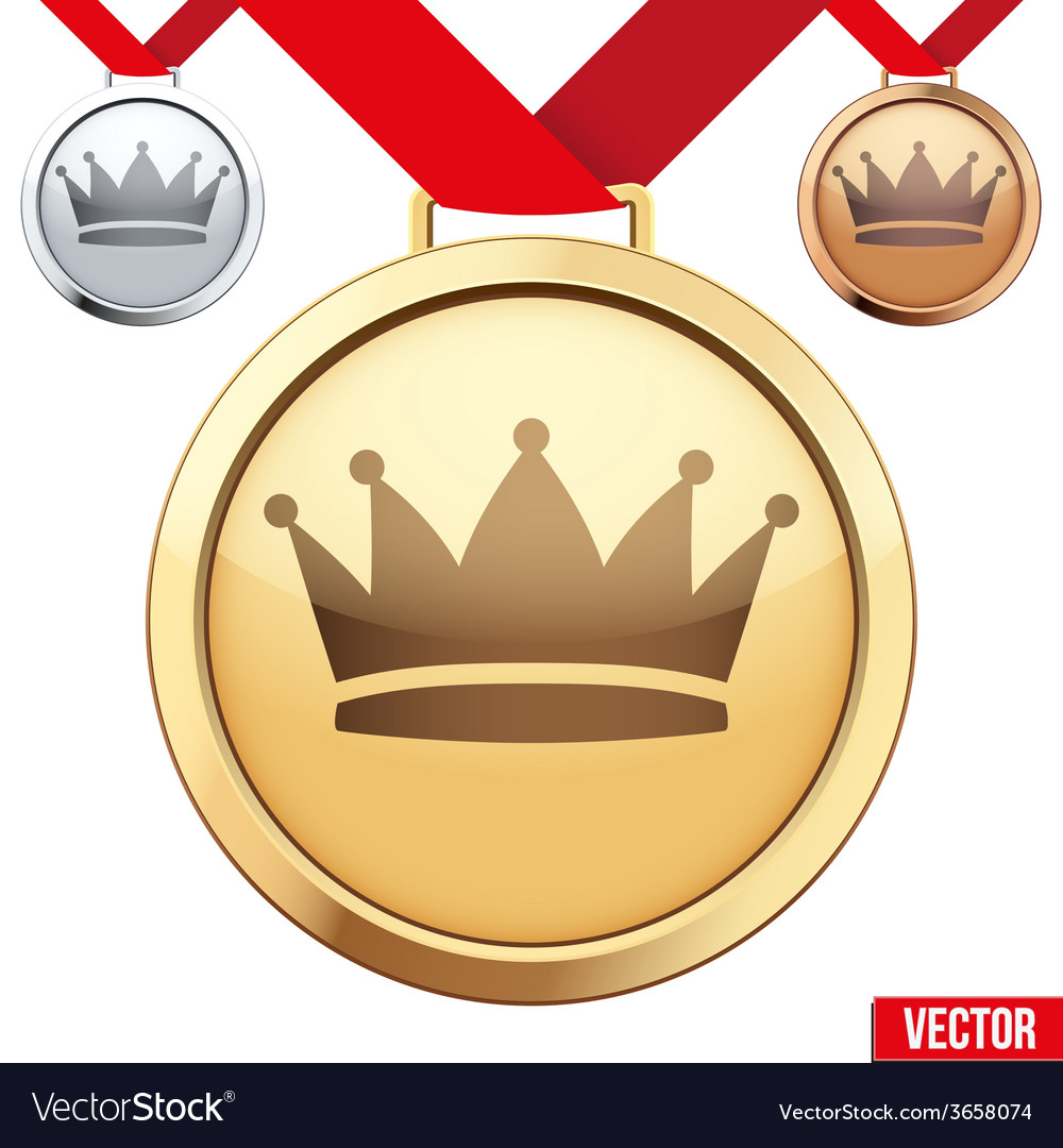 Gold medal with the symbol of a crown inside vector | Price: 1 Credit (USD $1)