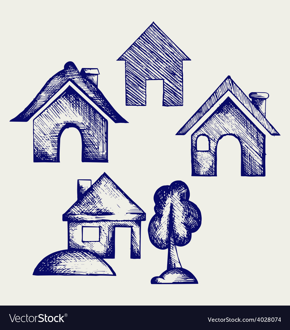 Houses icons set vector | Price: 1 Credit (USD $1)