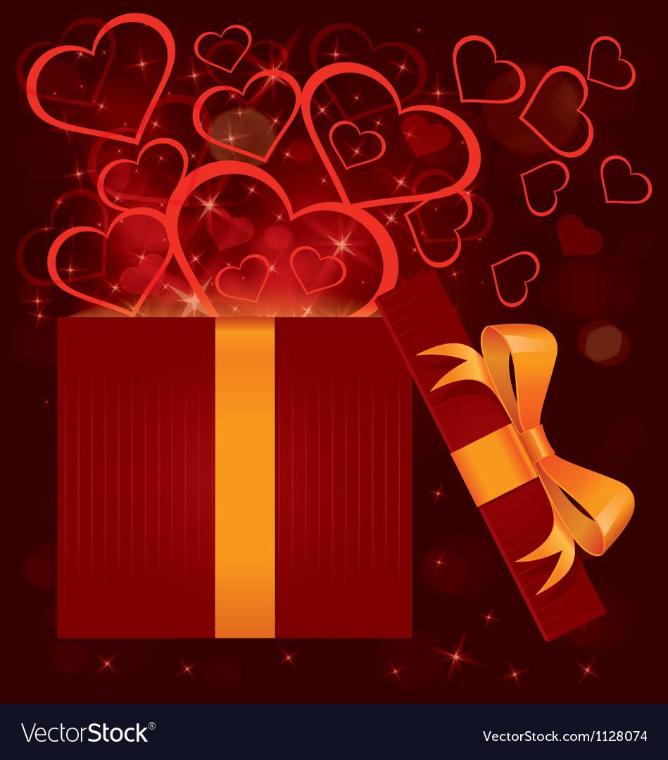 Magic light gift box hearts vector
