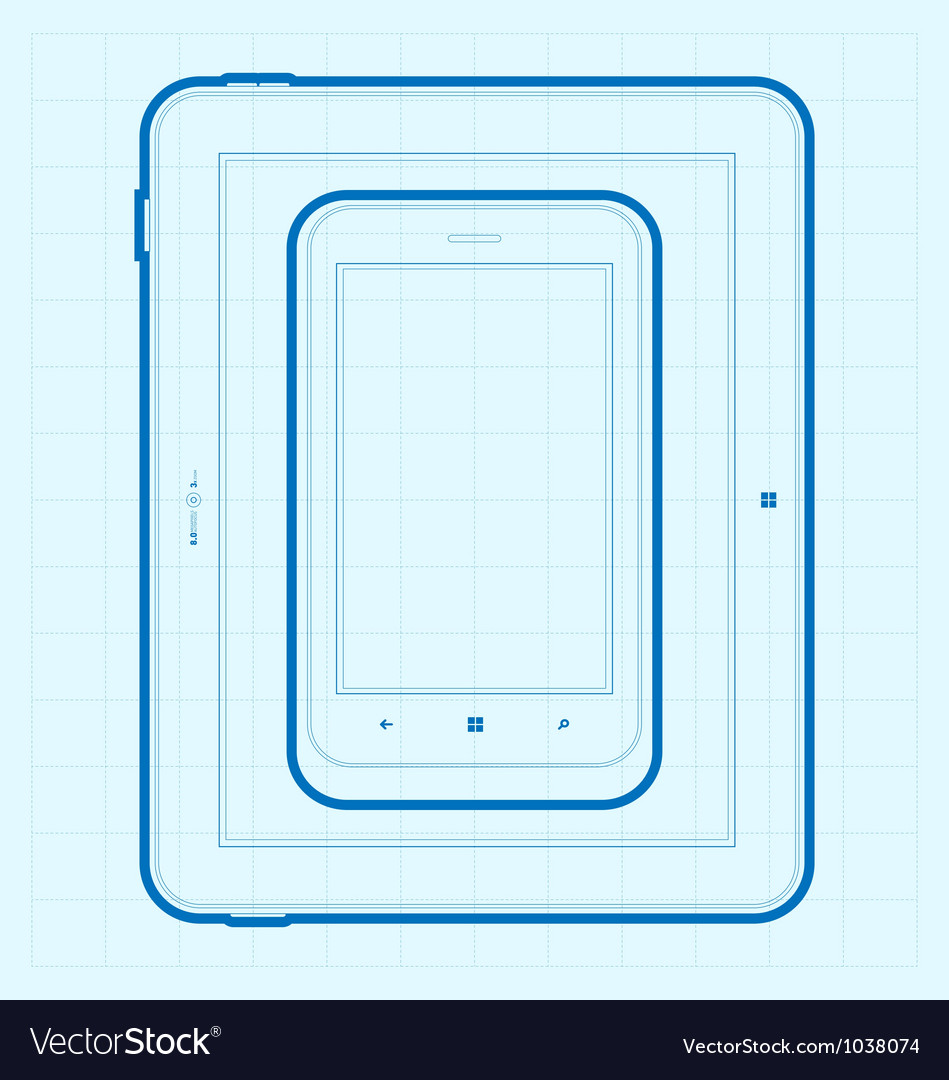 Mobile blueprint vector | Price: 1 Credit (USD $1)