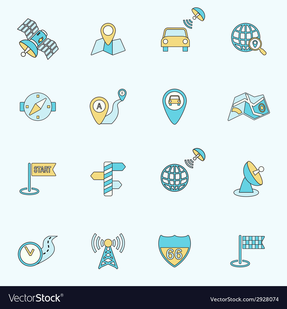 Mobile navigation icons flat line vector | Price: 1 Credit (USD $1)