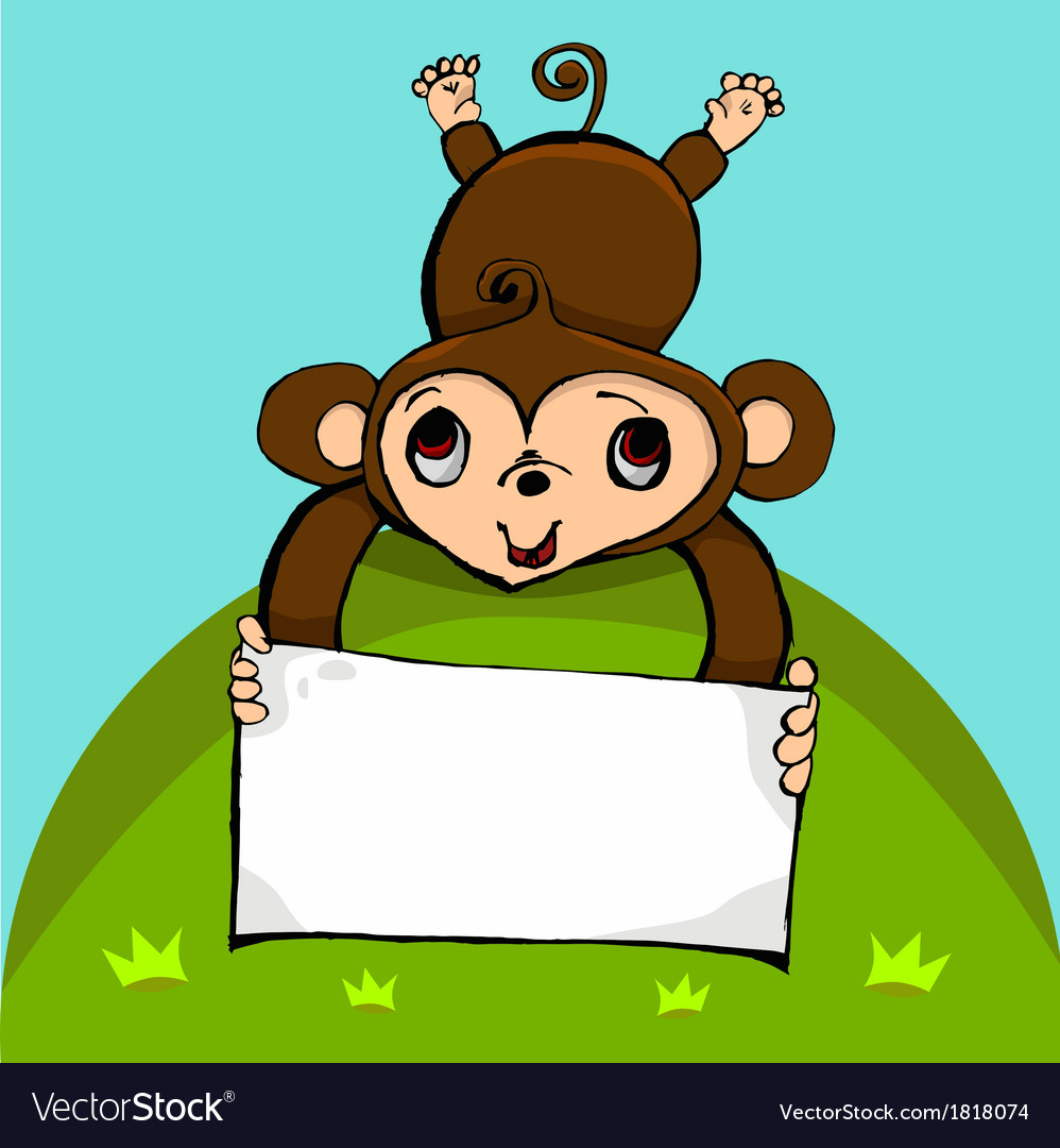 Monkey with blank sign with copy space vector | Price: 1 Credit (USD $1)