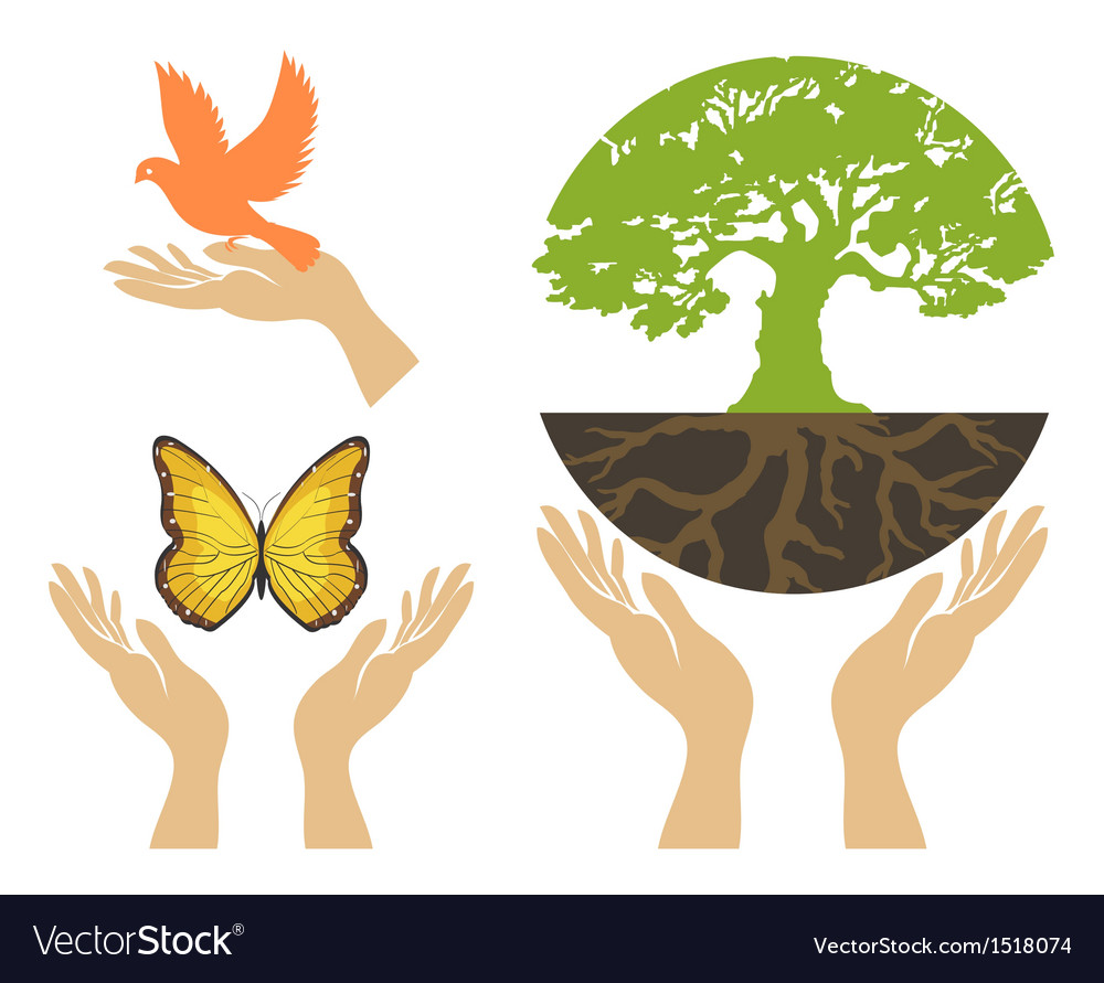 Nature icons with hands set vector | Price: 1 Credit (USD $1)