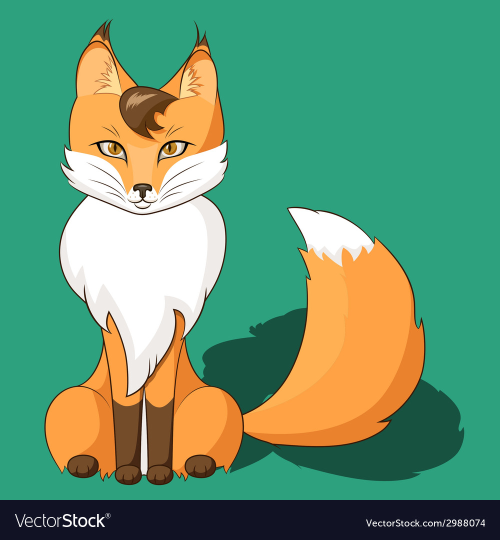 Orange fox sitting isolated on neutral background vector | Price: 1 Credit (USD $1)