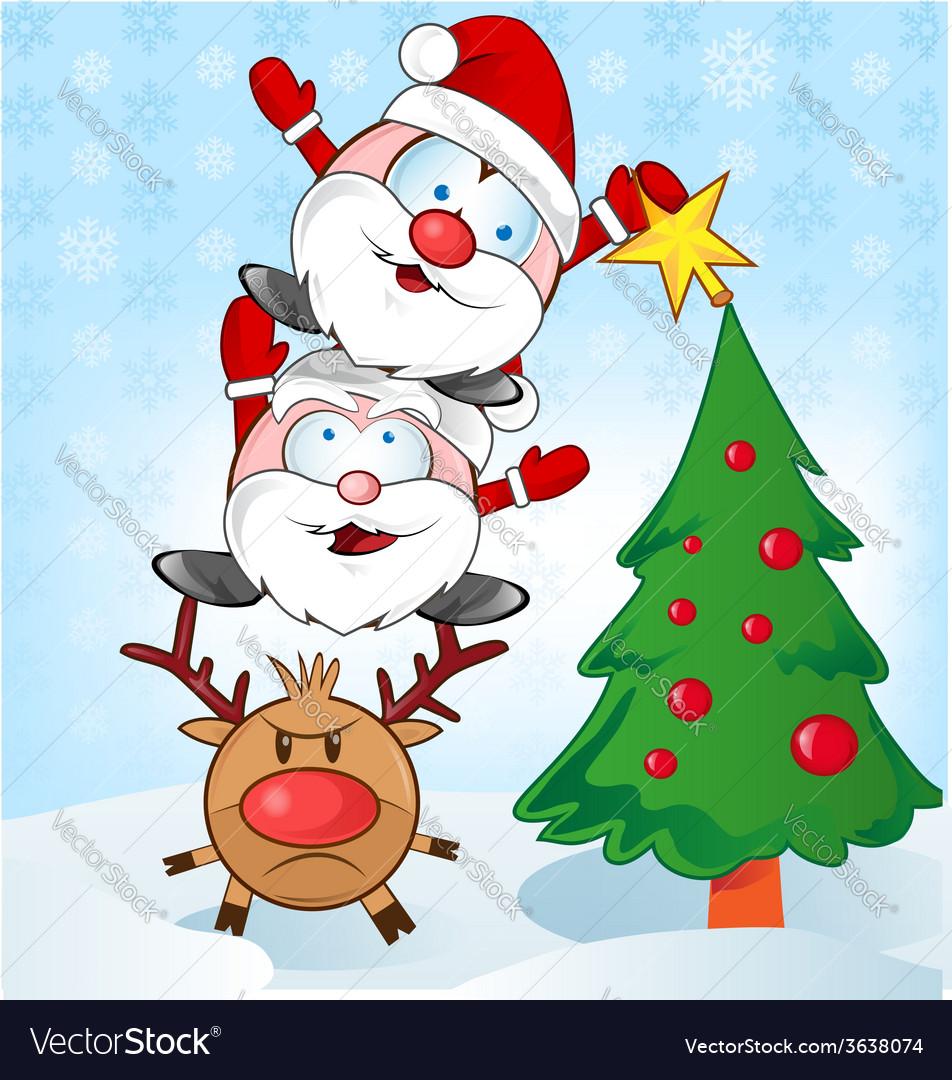 Santa claus whit reindeer cartoon vector | Price: 1 Credit (USD $1)