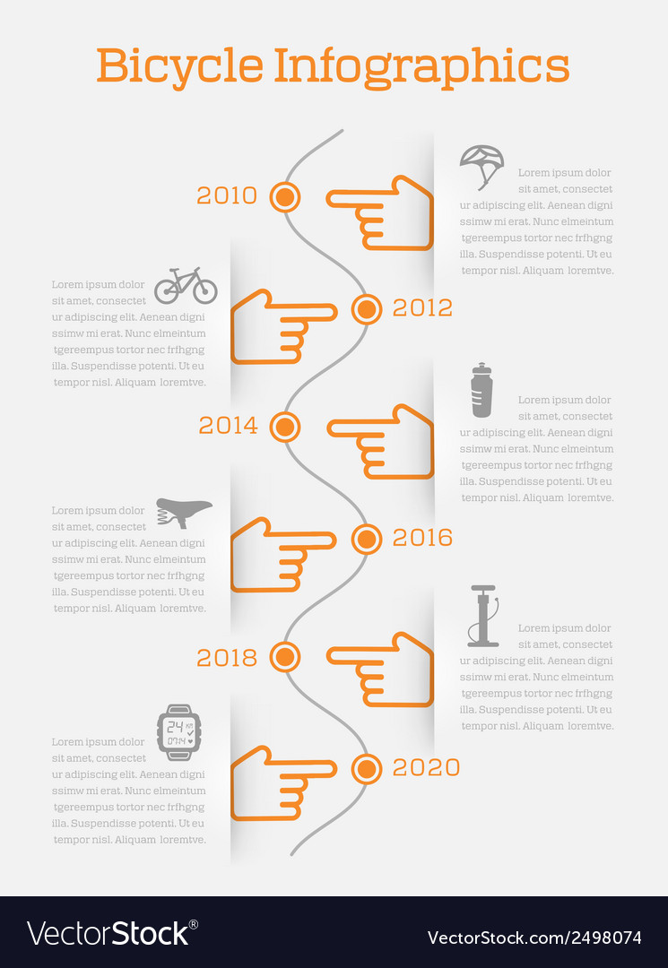 Timeline infographic bike vector | Price: 1 Credit (USD $1)