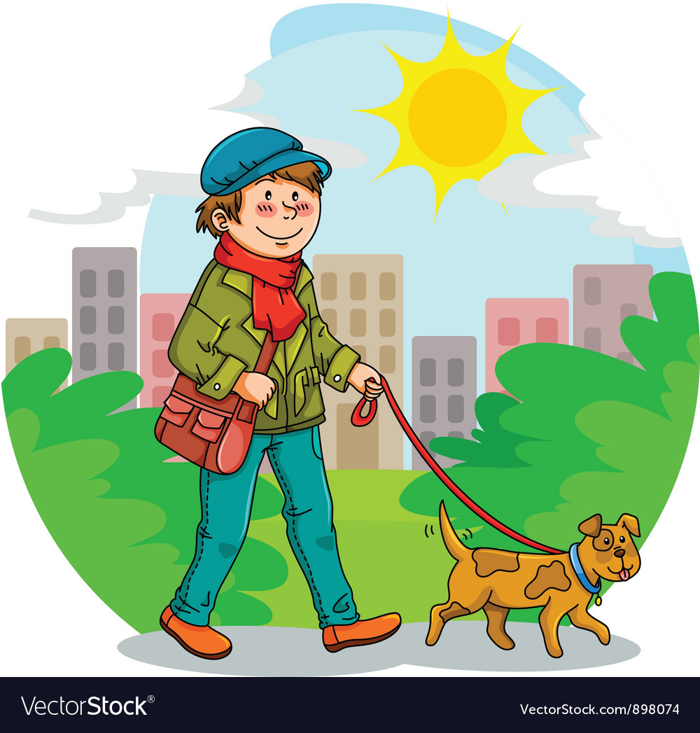 Walking the dog vector | Price: 3 Credit (USD $3)