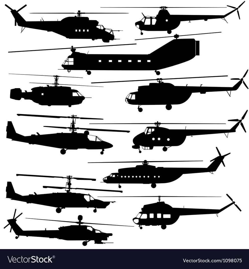Contours of modern helicopters vector | Price: 1 Credit (USD $1)