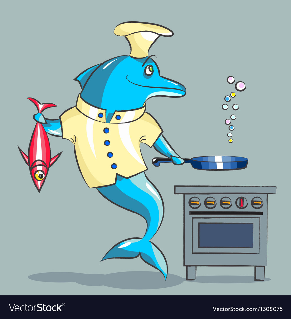 The dolphin is the cook vector | Price: 3 Credit (USD $3)