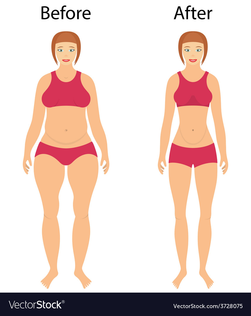 Fat and slim woman vector | Price: 1 Credit (USD $1)