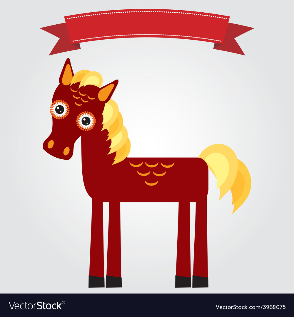 Funny brown horse on a white background vintage vector | Price: 1 Credit (USD $1)