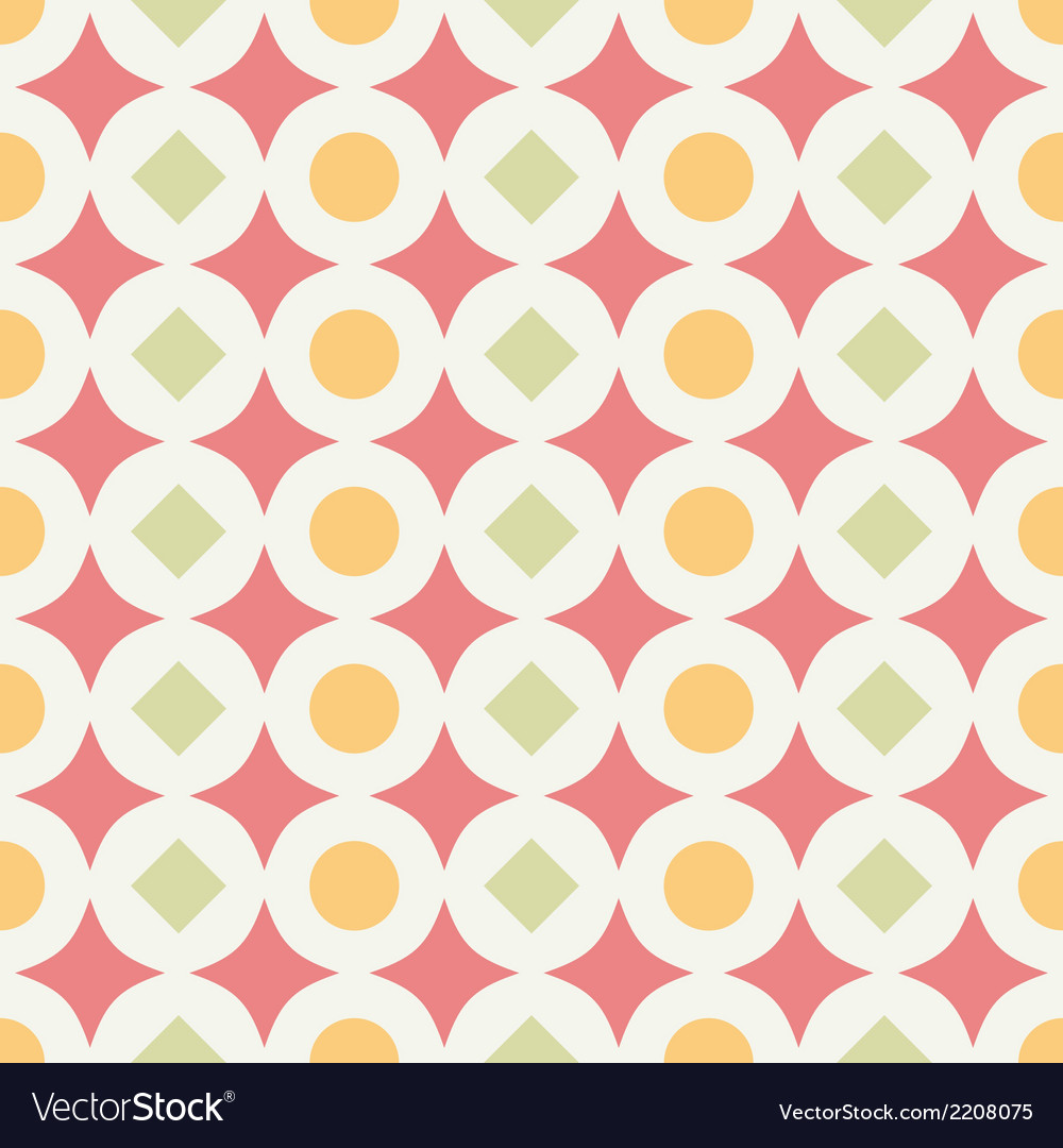 Geometric abstract retro seamless pattern on white vector | Price: 1 Credit (USD $1)