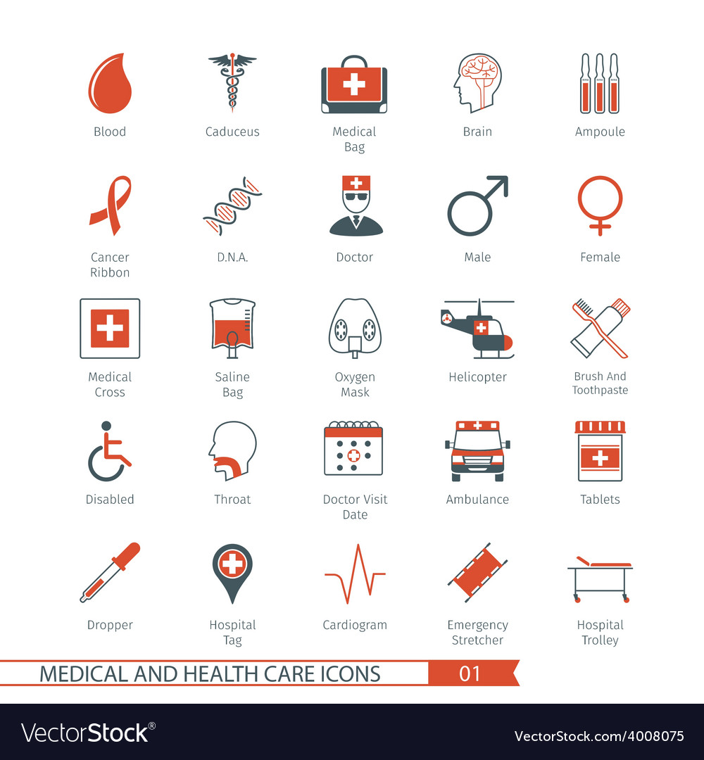 Medical and health care icons set 01 vector | Price: 1 Credit (USD $1)
