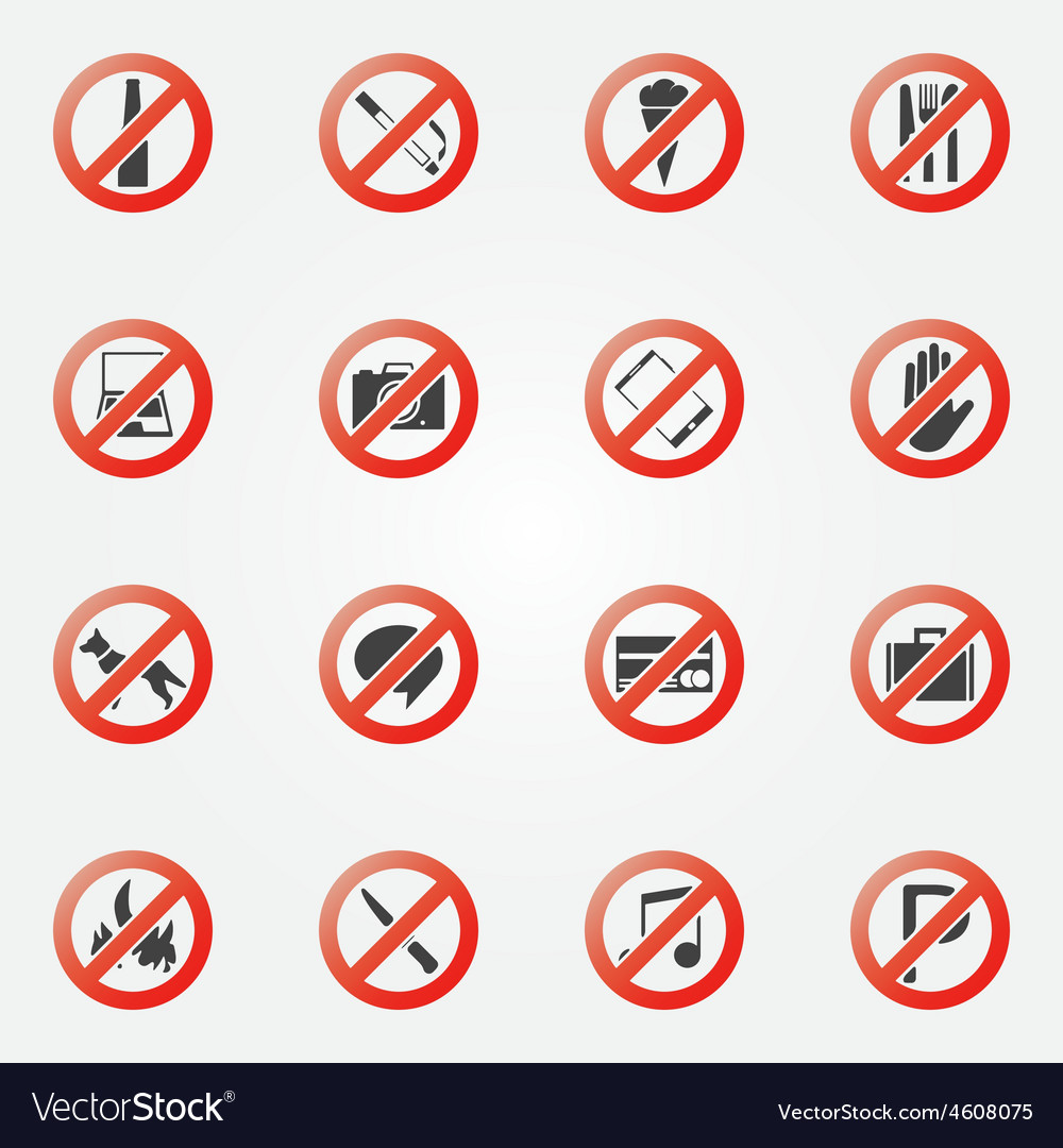 Prohibited or restriction icons set vector | Price: 1 Credit (USD $1)