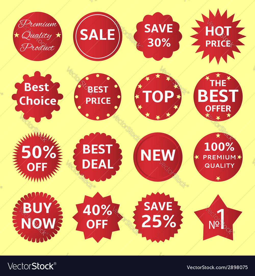 Red badges and labels vector | Price: 1 Credit (USD $1)