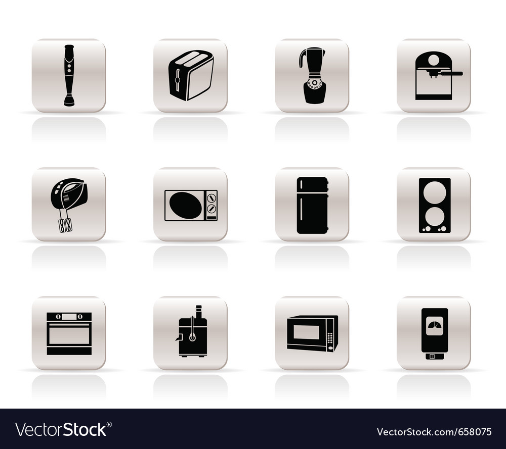 Simple kitchen and home equipment icons vector | Price: 1 Credit (USD $1)
