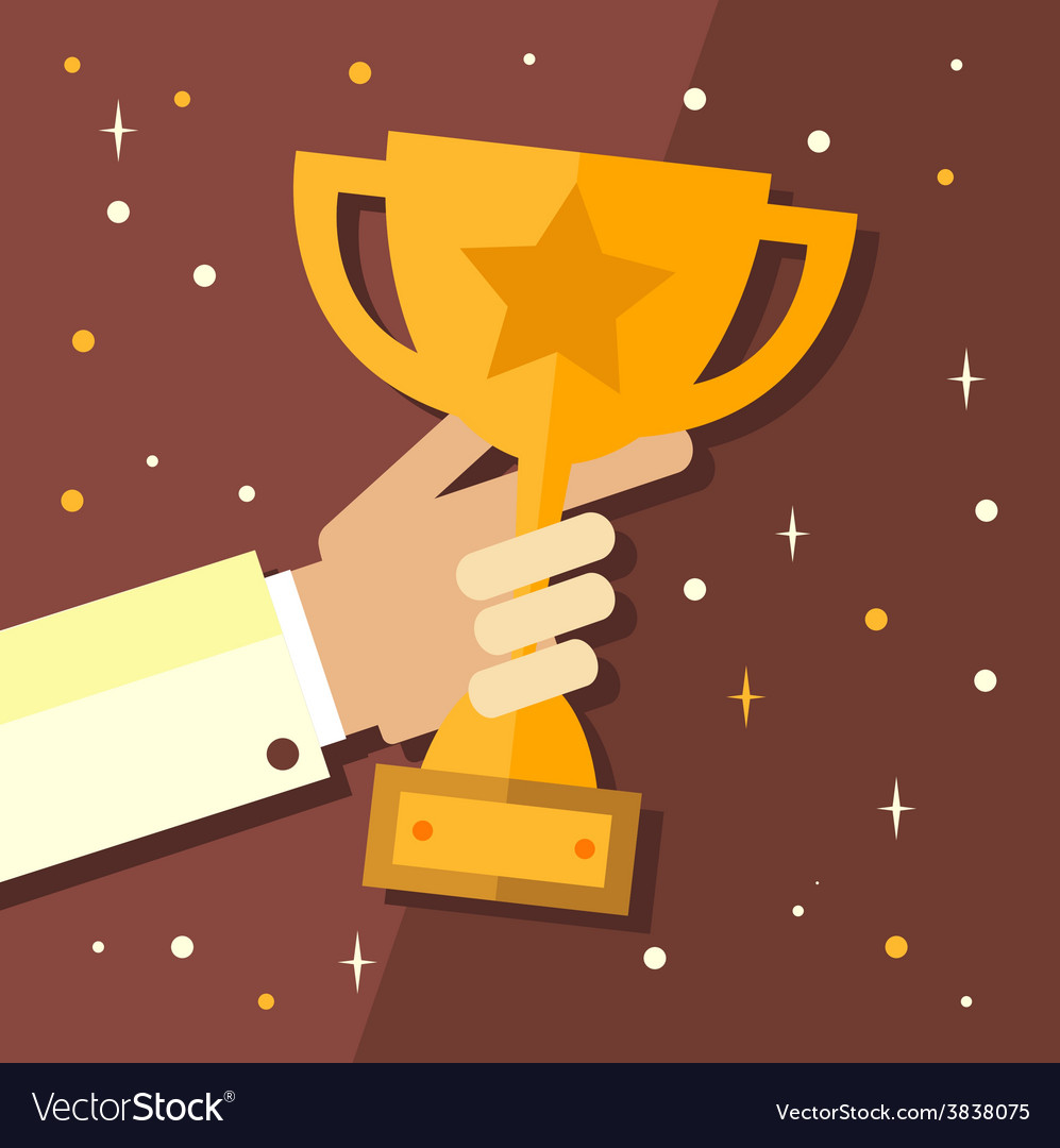 Trophy hands holding winner cup vector | Price: 1 Credit (USD $1)