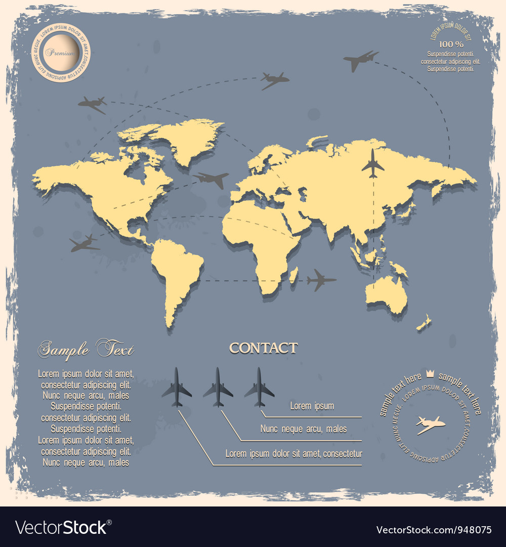 World map with aircrafts for design in vintage vector | Price: 1 Credit (USD $1)